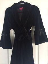 Betsey Johnson Black Velvet Victorian Bathrobe