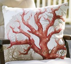 Pottery Barn's outdoor pillows feature style, comfort and durability. Find outdoor and patio cushions in Sunbrella fabric perfect for outdoor summer entertaining. Coral Pillows, Nautical Pillows, Throw Pillows, Sea Coral Decor, Pottery Barn Pillows, Summer Design, Cool Chairs, My Living Room, Decoration