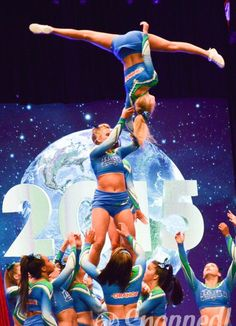 Great action shot!  Check out CheerleadingInfoCenter.com for tons of stunting tips!