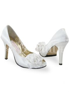 $277.99White 4 3/10'' High Heel 2/5'' Platform Open Toes #Wedding Shoes