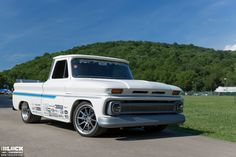"""Is this how Santa hauls all of those Christmas presents and delivers them across the world so fast? James Otto's pro-touring '66 Chevy C10 was built by Triworks Hot Rods and is named """"For Pete's Sake"""", in honor of James' grandfather, Pete. It's powered by a 6.0L LQ4 engine and rides on 19x10/19x12 Forgeline RB3C Concave wheels finished with Titanium centers & Brushed outers! See more at: http://www.forgeline.com/customer_gallery_view.php?cvk=1814  Photos courtesy of TheBlock.com.  #Chevy…"""