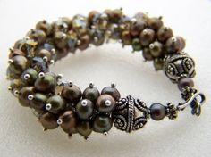 cluster bracelet - black fw pearls, smokey sw crystals ,bali silver, sterling clasp by J.W