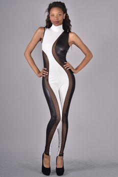 LEATHER BODY SUIT,EMBROIDERED ACCENT