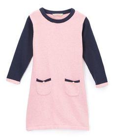$9.99 Look at this #zulilyfind! Blush & Navy Color Block Sweater Dress - Toddler #zulilyfinds