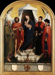 Virgin with the Child and Four Saints. Weyden. 1450-1451. Oil on panel. 61.7 x 46.1 cm. Städelsches Kunstinstitut. Frankfurt.