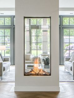 Home Fireplace, Fireplace Design, Fireplace Modern, Double Sided Fireplace, Fireplace Outdoor, Fireplace Ideas, Fireplace In Kitchen, Candle Fireplace, Contemporary Fireplaces