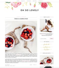 Premade Blogger Template - Instant Download - Oh So Lovely - Blogger Template…