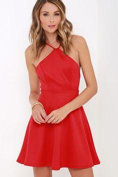 Steal the Spotlight Red Skater Dress at Lulus.com!
