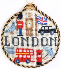 London Travel Round bauble by Kirk & Bradley needlepoint, embellished