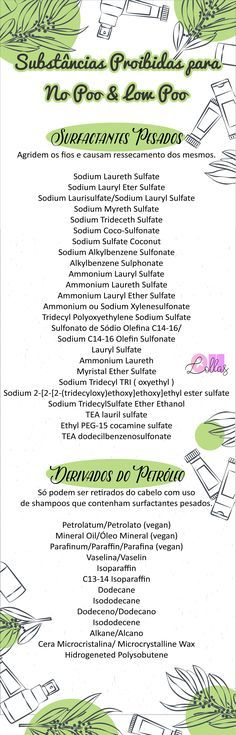 Lista de substâncias proibidas e liberadas para No Poo e Low Poo. The curly girl…