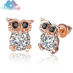 Miss Lady Rose Gold Plated Top Quality Crystal CZ Shiny Owl Earrings OL Korean fashion Jewelry Stud Earrings For Women MLLNPE276