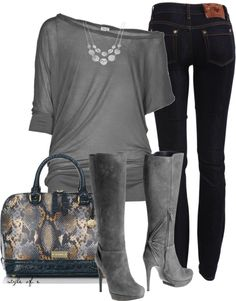 Gray Boots and Snakeskin Bag