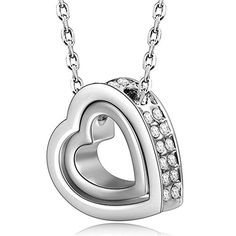 """Pauline & Morgen """"LOVE YOU FOREVER"""" Engraved White Gold Plated Women Crystal Necklace - The Ultimate Shopping Portal"""