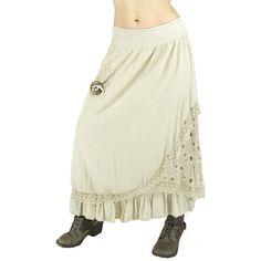 Jupe longue hippie bohème jupe longue écru par LaCaravaneTzigane