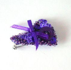 OOAK Purple Upcycled Beaded Brooch by Pookledo on Etsy, £10.00