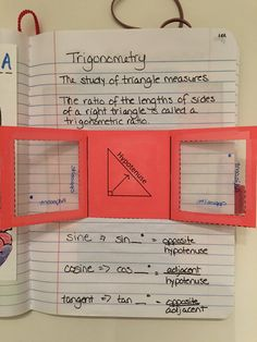 Right Triangle Trigonometry Foldable with clear transparency pages. Geometry Interactive Notebook, Teaching Geometry, Teaching Math, Algebra Interactive Notebooks, Teaching Technology, Math Resources, Math Activities, Geometry Activities, Right Triangle