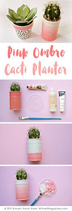 Learn how to make this DIY pink ombre cacti planter in just 4 easy steps at WhimMagazine.com