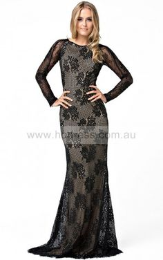 Long Sleeves Zipper Jewel Floor-length Lace Formal Dresses csea7024--Hodress
