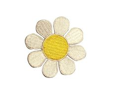 2 inch Hippie Daisy White and Yellow Flower Embroidered Iron on Applique Patch | eBay