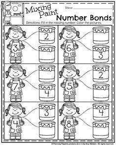 Back to School Kindergarten Worksheets - Mixing Paint Number Bonds Addition