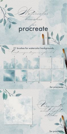 This pack include 38 watercolor brushes for Procreate You can use these brushes to realize your wildest ideas in design. Apply smears for create unique design Watercolor Paper Texture, Watercolor Brushes, Watercolor Artists, Watercolor Background, Watercolors, Artist Brush, Ipad Art, Photoshop Brushes, Crayon