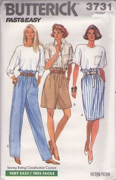 MOMSPatterns Vintage Sewing Patterns - Butterick 3731 Vintage 80's Sewing Pattern FABULOUS Fast & Easy Come on Eileen Sack Waist Shorts, Skirt, Trousers Size 6-10