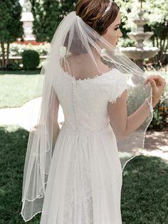 "Beaded Edge 41"" Long Fingertip Wedding Veil enVogue V2091SF Wedding Veils, Wedding Dresses, Wedding Hair, Wedding Ceremony, Bridal Closet, Finger, Affordable Bridal, Lilac Wedding, Dream Wedding"