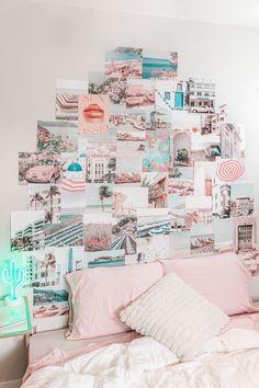 Beach aesthetic photo collage kit wall decor prints Cute Bedroom Decor, Room Ideas Bedroom, Teen Wall Decor, Decor Room, Bedroom Designs, Dorm Room Decorations, Room Decor For Girls, Bedroom Ideas For Small Rooms For Teens For Girls, Picture Room Decor