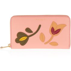Henri Bendel West 57th Floral Applique Zip Around Continental Wallet ($160) ❤ liked on Polyvore featuring bags, wallets, lt pink, floral wallet, zip around continental wallet, zipper change purse, zip coin purse and change purse