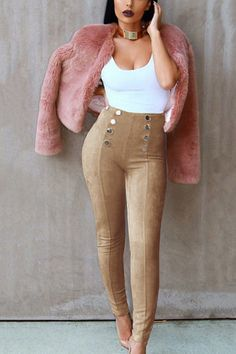 Khaki Suede Button Embellished Pants from mobile - US$21.95 -YOINS