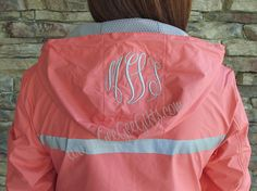 Coral Monogrammed Personalized Rain Jacket - other colors available