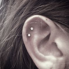 double cartilage piercing #studs #diamonds #piercings Dreamworx Ink 3883 Rutherford Rd, Unit 11 Vaughan, ON L4L 9R8 905-605-2663 @Dreamworx Ink