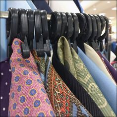 Demonstration of the need for spinners and racks as display devices like this Rectilinear Pocket Square Rack in Retail to display extensive offerings. Retail Fixtures, Kerchief, Tie Knots, Detail, Tote Bag, Pocket Squares, Fine Fine, Display, Scarves