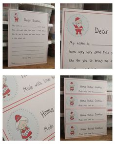 Free Christmas Printables - letter to santa- reindeer food - home baked cookies