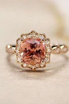 Non-traditional Art Deco Style Gold Vintage Engagement Ring. // See more: 18 Unique Vintage Engagement Rings that Will Make You Want to Go Back in Time. // mysweetengagement.com/unique-vintage-engagement-rings // #UniqueEngagementRing #EngagementRing #VintageEngagementRing #VintageWedding #ArtDeco
