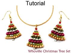 Beading Tutorial Pattern Christmas Holiday Earrings Necklace - Brick Stitch - Simple Bead Patterns - Whoville Christmas Tree Set #10430