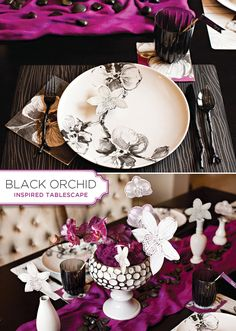 MADHOUSE Black Orchid Inspired Tablescape {+ Sparkling Grape Cocktail & Free Printables} #MADHOUSE
