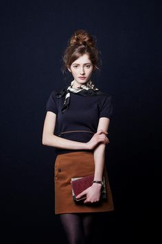 Lovely messy hair, skirt and top with scarf!