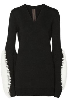 RICK OWENS Angora-trimmed wool sweater