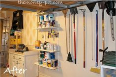Garage Organization-But all it takes are some shelves and hooks to turn the wall into a work station for outdoor chores and DIY projects. See more at The Kim Six Fix Linen Closet Organization, Home Organisation, Kitchen Organization, Organization Hacks, Workshop Organization, I Heart Organizing, Organizing Your Home, Organising, White Appliances