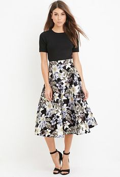 Contemporary Tropical Print A-Line Skirt | Forever 21 - 2000158145