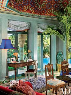Interior designer Todd Black conceived the bone-inlay desk and chair in the living area of Veronica Webb's Key West, Florida, home. The dome ceiling was produced in Morocco. Moroccan Design, Moroccan Decor, Moroccan Style, Modern Moroccan, Moroccan Bedroom, Morrocan Interior, Moroccan Curtains, Moroccan Lanterns, Bohemian Interior