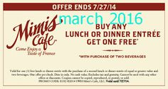 Mimis Cafe coupons & Mimis Cafe promo code inside The Coupons App. Second breakfast or dinner entree free at Mimis Cafe April Free Breakfast, Breakfast For Dinner, Second Breakfast, Wish App, Coupons For Boyfriend, Restaurant Coupons, Free Printable Coupons, Love Coupons, Dinner Entrees