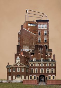 """Korean artist Beomsik Won digitally manipulates photos of buildings to deconstruct and reconstruct these structures, creating baffling combinations in this series of collages entitled """"Archisculpture"""". Photomontage, Surreal Collage, Collages, A Level Photography, Architecture Collage, City Wallpaper, Decoupage Art, City Illustration, Grid Design"""