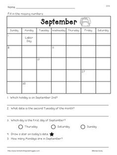Calendar Fun-a pack that includes calendar reading practice, month abbreviation game, race to the year game and blank calendars. September Calendar Printable, Calendar Time, Kids Calendar, Blank Calender, Calendar Worksheets, Calendar Activities, Teaching Tips, Teaching Math, Maths