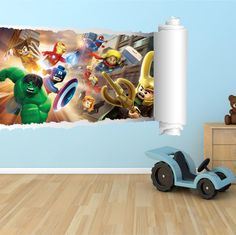 Lego Batman Cracked Wall Full Colour Print Wall Art Sticker Decal - Lego superhero wall decals
