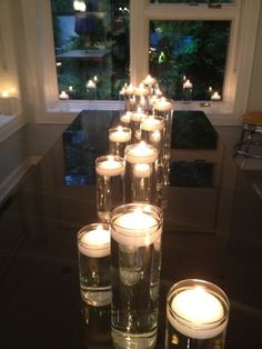 Floating candle arrangement purchased from Quick Candles