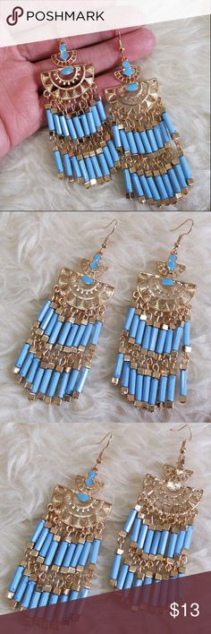 "❄ Blue Tube Beads Dangle Earrings Blue Tube Beads Dangle Earrings are super light weight !! Great gifting idea or add them to your fashionista collection- Be EarResistible!  Easy to wear, they will give a stylish boost to every outfit all day long. Approx length: 4"" None Jewelry Earrings"