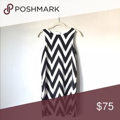 Chevron Dress Great condition! Only worn once to present my thesis poster! This is a sleeveless dress with a black and white chevron pattern. Fits true to size. Nordstrom Dresses Midi