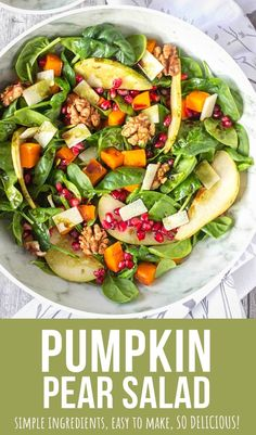 This Pumpkin Pear Salad is made with all fresh and seasonal ingredients. It's topped with crunchy walnuts and seasoned with Pumpkin Seed Oil Vinaigrette. Full of flavor, EASY to make and perfect for… More